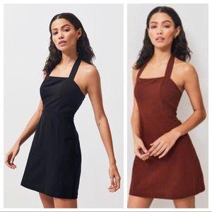 Kendall Kylie halter linen black mini dress